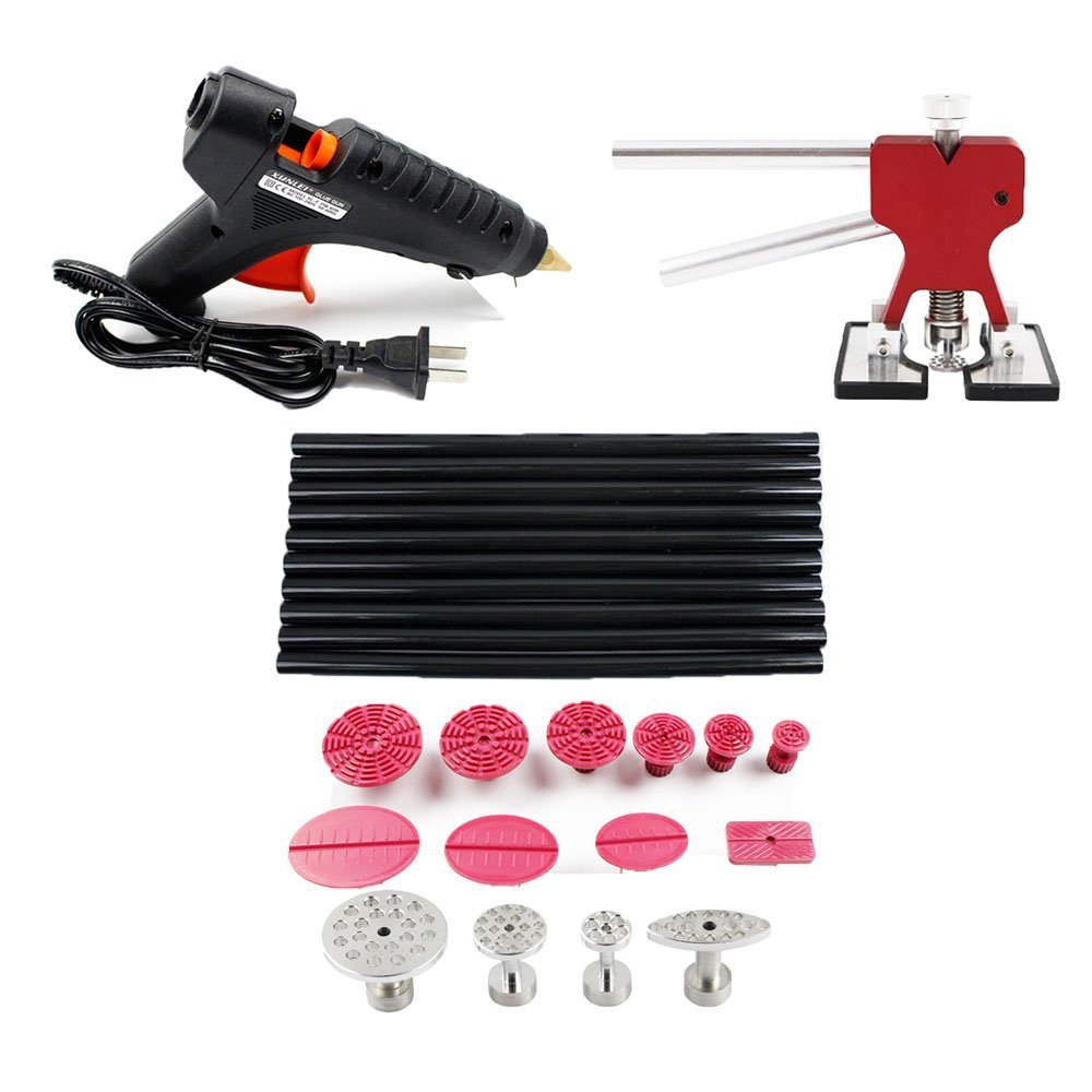 Furuix PDR Tool Kit with PDR Rods Glue Gun Dent Lifter Tap Down Hammer Paintless Dent Repair Tools Dent Removal Car Dent Puller Auto Body Tools by Furuix (Image #2)