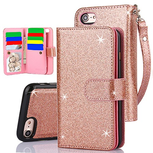 iPhone 7 Case,iPhone 8 Case, TabPow 10 Card Slot - [ID Slot] Wallet Folio PU Leather Case Cover With Detachable Magnetic Hard Case For iPhone 7/iPhone 8 (4.7 Inch) - Glitter Rose Gold