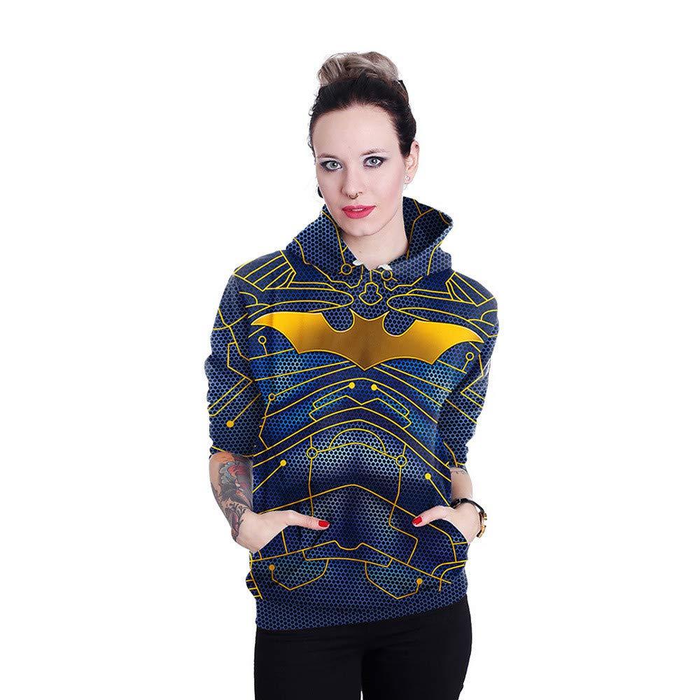 CHAOHAO 3D Kapuzenpullover Kapuze 3D Pullover Herbst Winter Langarm Pullover Frauen Europa Und Amerika Batman Halloween