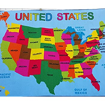 Amazon.com: Kids Area Rug - USA Map Design (3 Ft. 3 In. X 4 Ft. 10 ...
