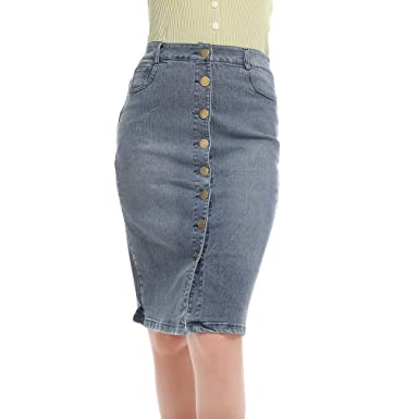 MIKI Shop Falda Larga de Jean con múltiples Botones para Mujer ...