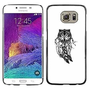 Paccase / SLIM PC / Aliminium Casa Carcasa Funda Case Cover - Wolf Indian Dream Catcher White Native - Samsung Galaxy S6 SM-G920