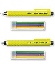Koh-I-Noor S128 - Schneiderkreidestift gelb aus Kunststoff mit 6 Farbigen Minen (grün, violett, blau, rot, gelb, weiß) - 2er Set mit 2 Stiften und je 6 Ersatzminen