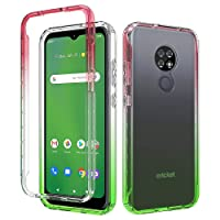 Cricket Ovation Case, AT&T Radiant Max Case, Onyxii Full-Body Rugged Ultra Transparency Hybrid Case with Built-in Screen Protector for Cricket Ovation/AT&T Radiant Max (Red/Green)