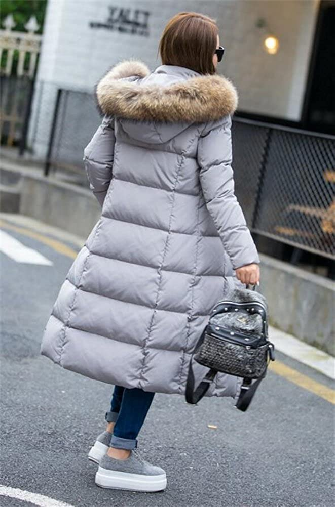 Womens Winter Thicken Maxi-Length Down Coats Jackets with Faux Fur Hood