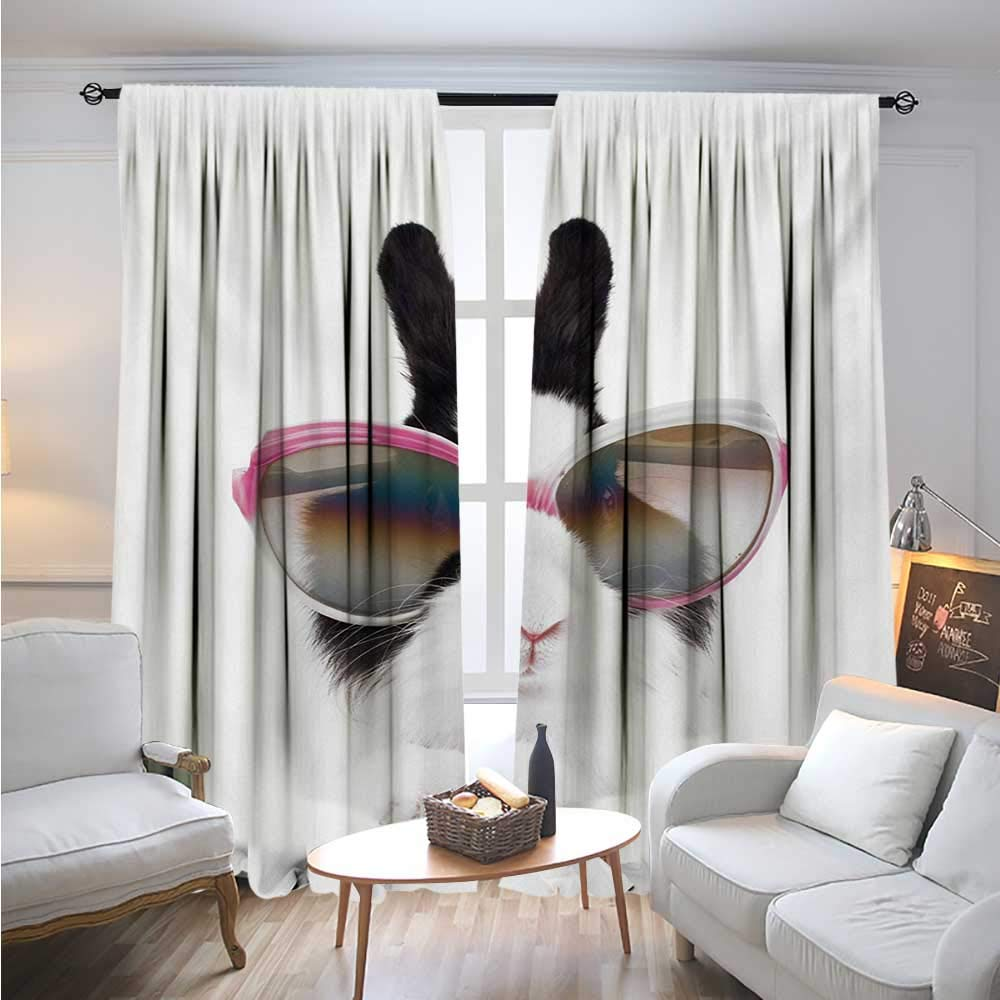 BlountDecor FunnyBlackout DrapesLittle Rabbit in Sunglasses Beauty Bunny Fluffy Creature Pet Portrait Fashion ImageCover The Sun W96 x L108 Black White by