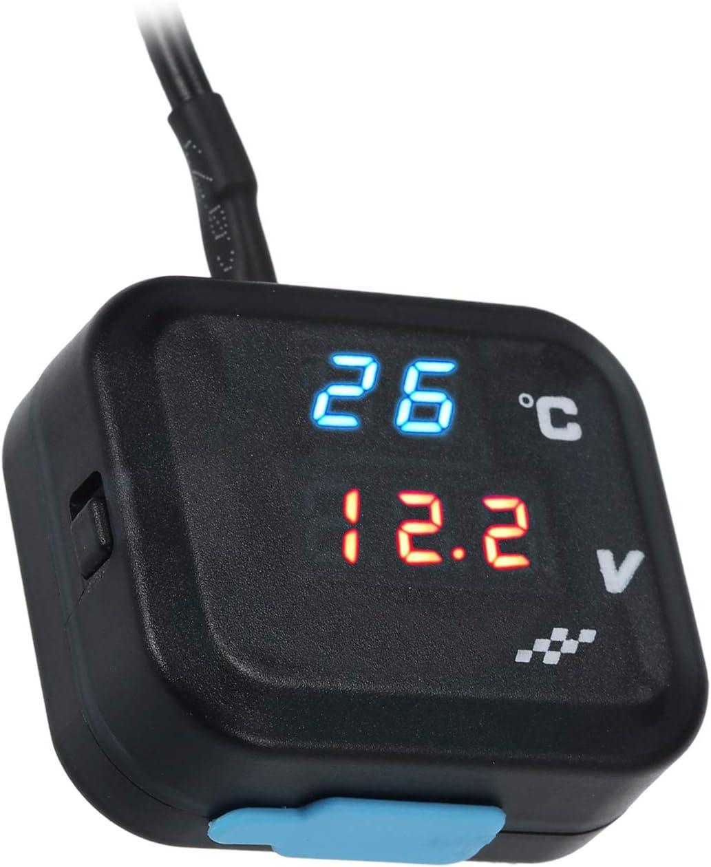 Kkmoon Wassertemperaturanzeiger Motorrad Universal Digital Blaue Led Wassertemperatur Temperaturanzeige 0 99 Voltmeter Messgerät Bereich Mit Blau Rot Licht Led Anzeige Auto