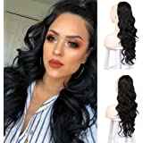 Isaic Drawstring Ponytail for Women Long Wavy Ponytail Extension Clip in Ponytail Hair Extensions Black Color 24 Inch