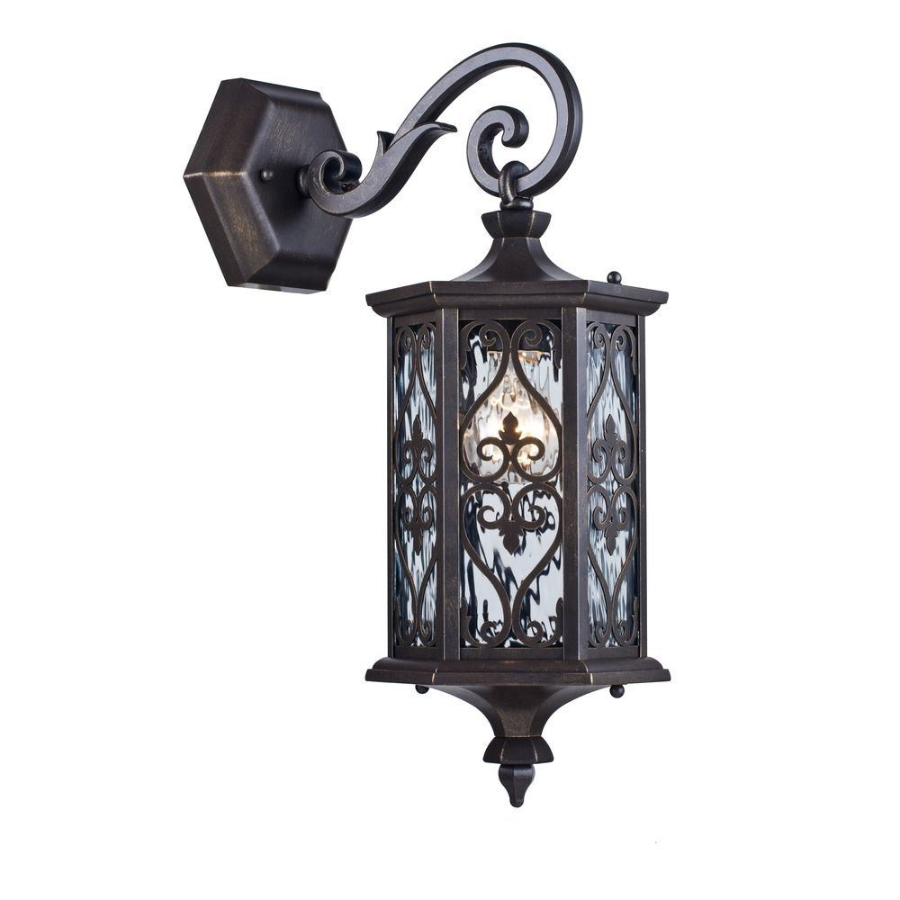 Baroque Classic Outdoor Wall Light Black and Brass Lantern, Metal, Clear Glass, Decorative Lattice, 1 Bulb excl.1xE27 60W 220V IP44 [Energy Class A++] Maytoni GmbH