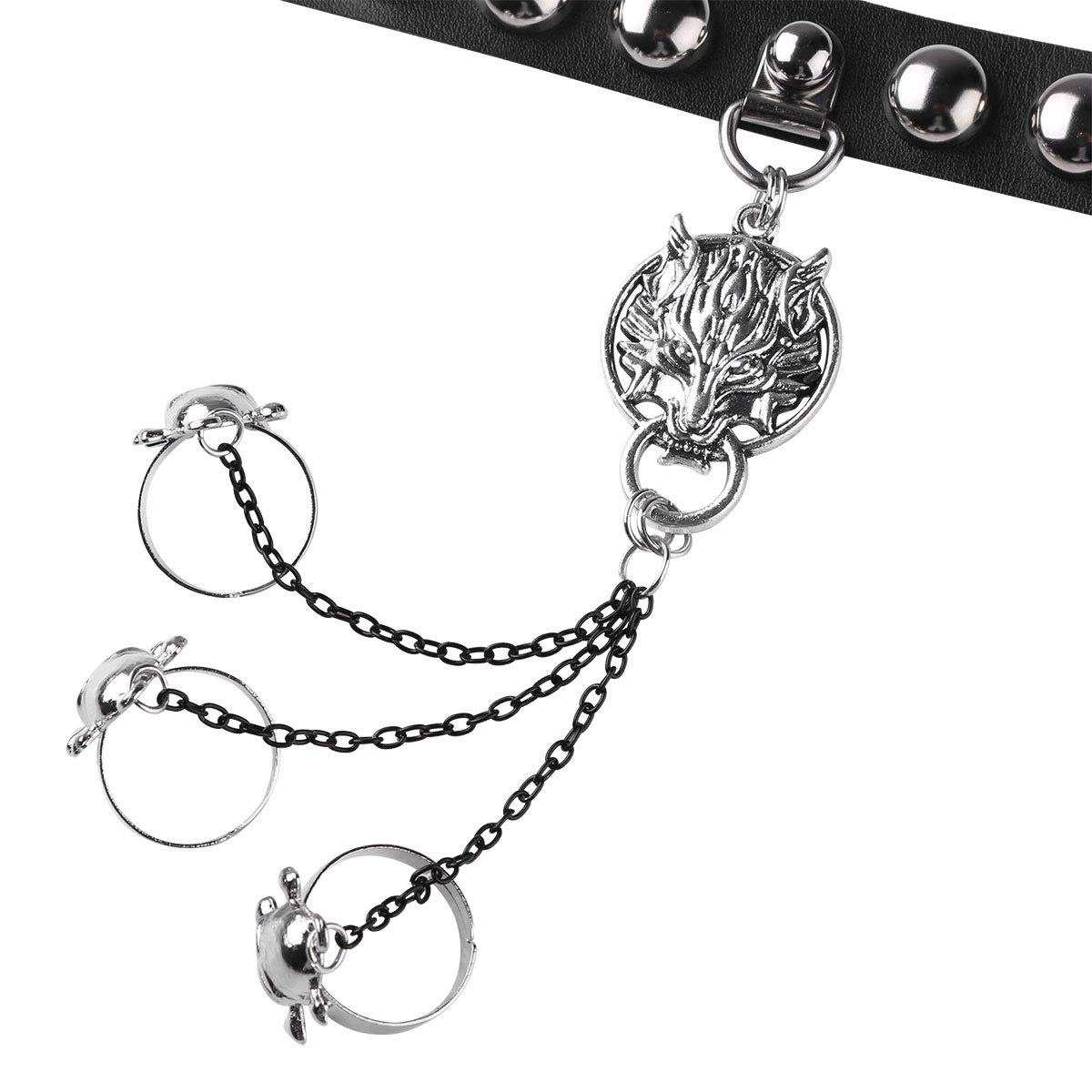 FEESHOW Gothic Faux Leather Steampunk Skull Wolf Head Charm Hand Chain Harness Slave Bracelet Wristband with Rings