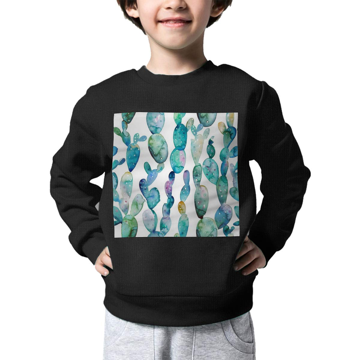 Watercolor Cactus Pattern Print Baby Girls Kids Crew Neck Sweater Long Sleeve Cute Knit Top Blouse