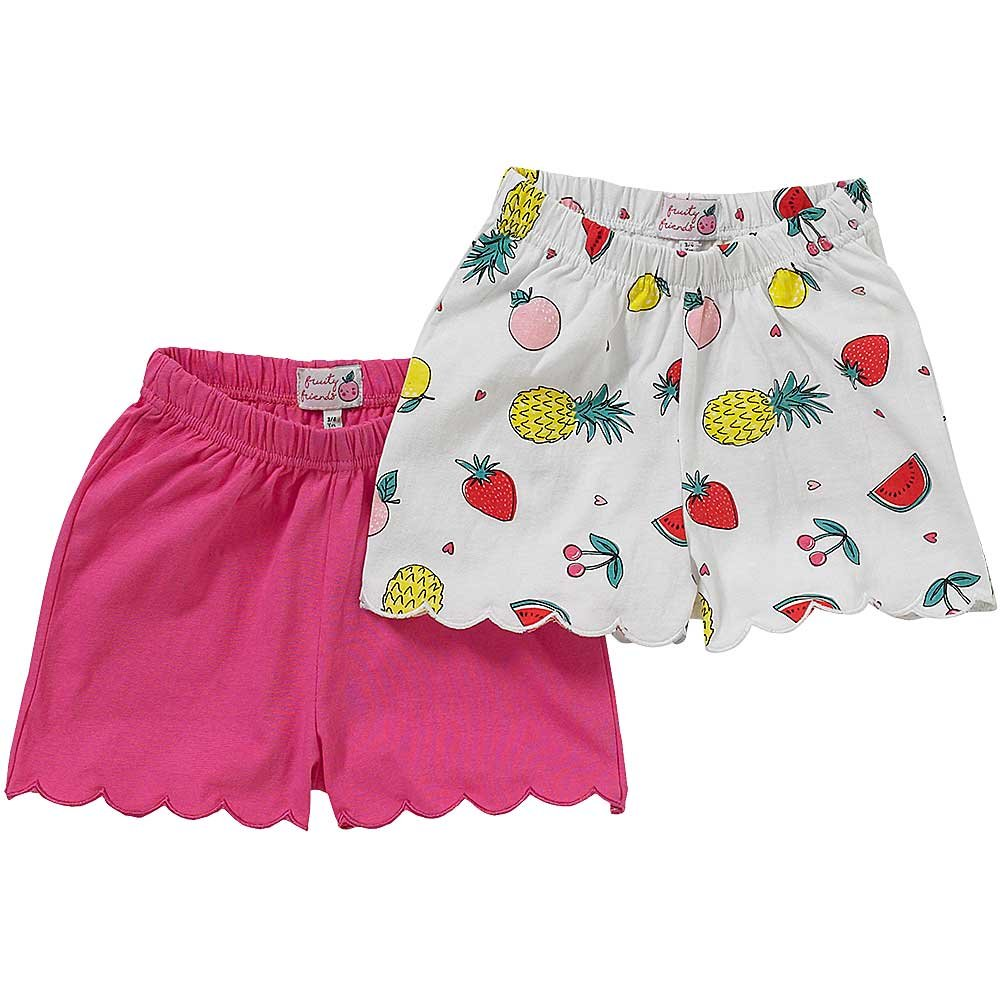 Just Essentials Girls 2 Pack Unicorn Fruit Plain Cotton Summer Shorts