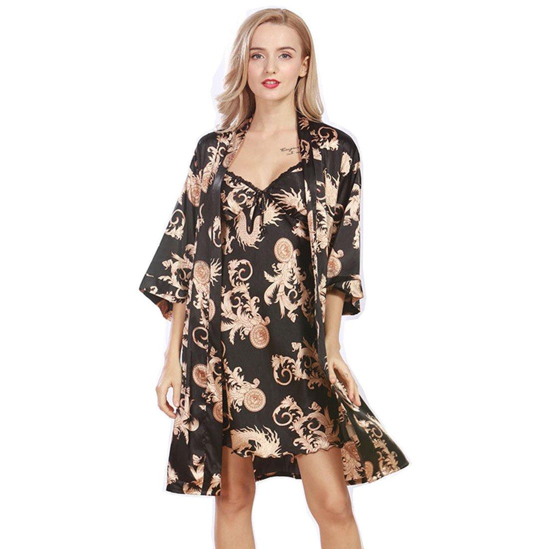 Daiwenwo Women Gown Sleepwear Ladies Nightdress 2 Pcs Set Female Pajamas WP322