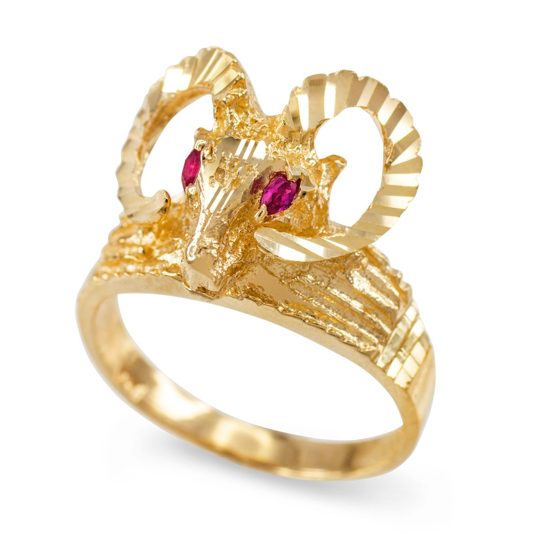 Textured Gold Ram Head Aries Zodiac Sign Red CZ Ring (10.75) LA BLINGZ A130