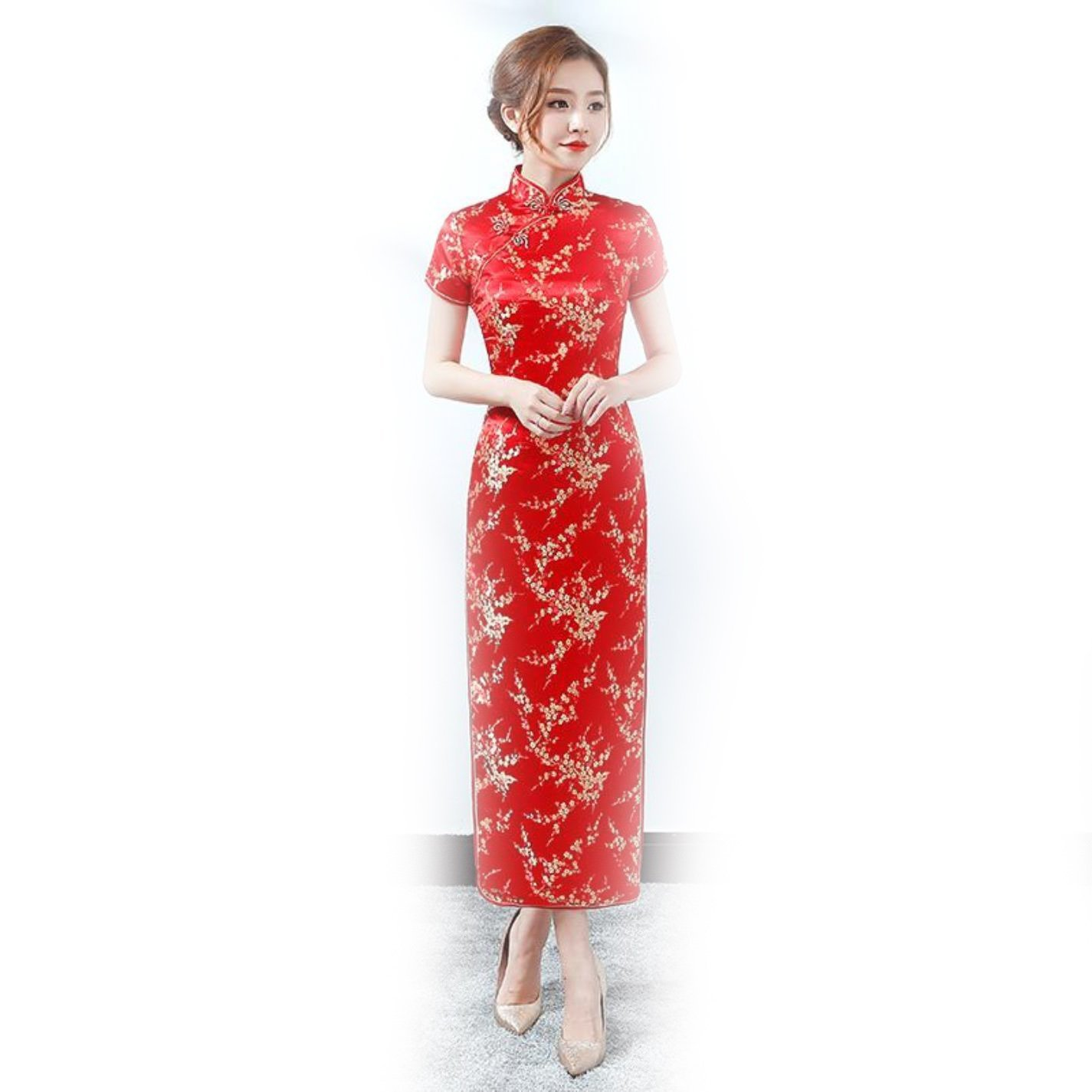 Ladies Mandarin Collar Elegant Vestidos Red Chines Cheongsam