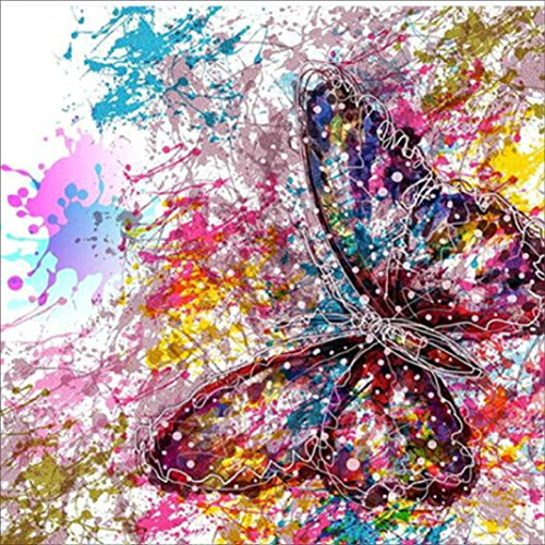 DIY 5D Diamond Painting by Number Kits, AMA(TM) Crystal Rhinestone Pasted Diamond Embroidery Cross Stitch Canvas Paintings Pictures Arts Craft for Home Wall Decor (Butterfly B) (Diamond Bead Frame)