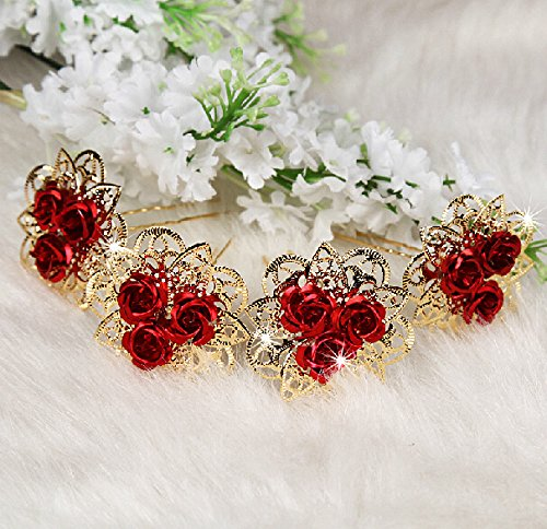 Boutique Accessories (CIMC LLC 4pcs Fashion Women Lady Boutique Wedding Bridal Flower Red Rose Hair Clasp Hair Pins Bridal Accessories)