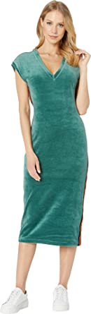3bd2a832695b Juicy Couture Women s Stretch Velour Fitted Midi Dress Dark Absinthe  Petite X-Small