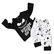 Toddler Baby Boy Clothes 2Pcs Outfit Set Nightmare Printing Long Sleeve and Skull Pants Clothing Set(6-12Month,80)