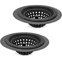 Country Kitchen Set of 2 Sink Strainers, Flexible Silicone Good Grip Kitchen Sink Drainers, Traps Food Debris and Prevents Clogs, Large Wide 4.5' Diameter Rim – Pink and Gun Metal (Black)