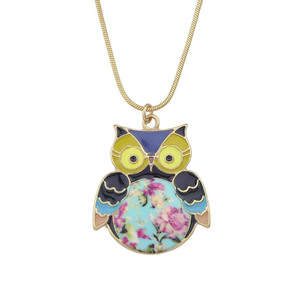 Feelontop® Fashion Orange Blue Enamel Owl Pendant Necklace Jewelry NC-5229