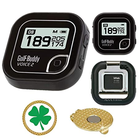 AMBA7 GolfBuddy Voice 2 Golf GPS Rangefinder Bundle with Magnetic Hat Clip Ball Marker Clover