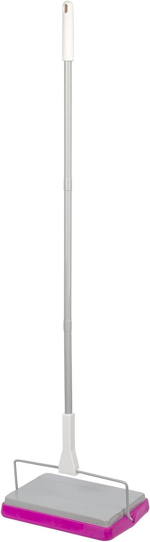 Casabella Basics Carpet Sweeper, 3 Piece Pole, Silver and Magenta
