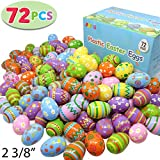 """Joyin Toy 72 Pcs Plastic Printed Bright Easter Eggs 2 3/8"""" Tall for Easter Hunt, Basket Stuffers Fillers, Classroom Prize Supplies, Filling Treats and Party Favor"""