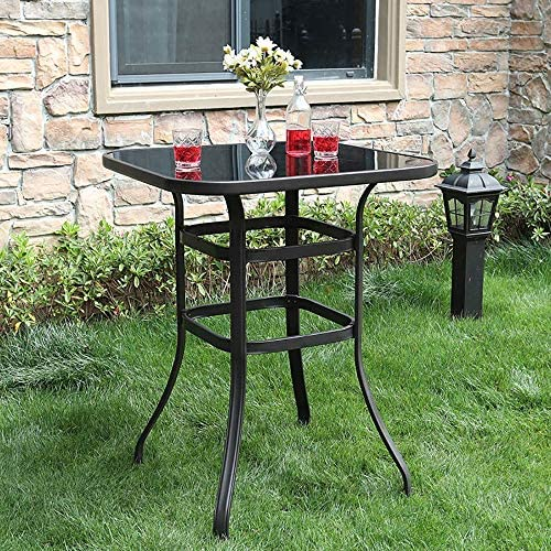 PHI VILLA Patio Bar Table Outdoor Furniture Steel Frame All Weather for Outdoor Brown
