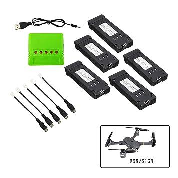 Fstoption 5pcs 3.7 v 500 mah batería y Cargador para E58 S168 WiFi RC Quadcopter Drone Piezas de Repuesto (5pcs Baterías RC)