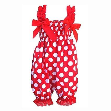 SODIAL(R) recién Nacido bebé niña Rojo Fondo Blanco Lunares Volantes Pelele Vestido de