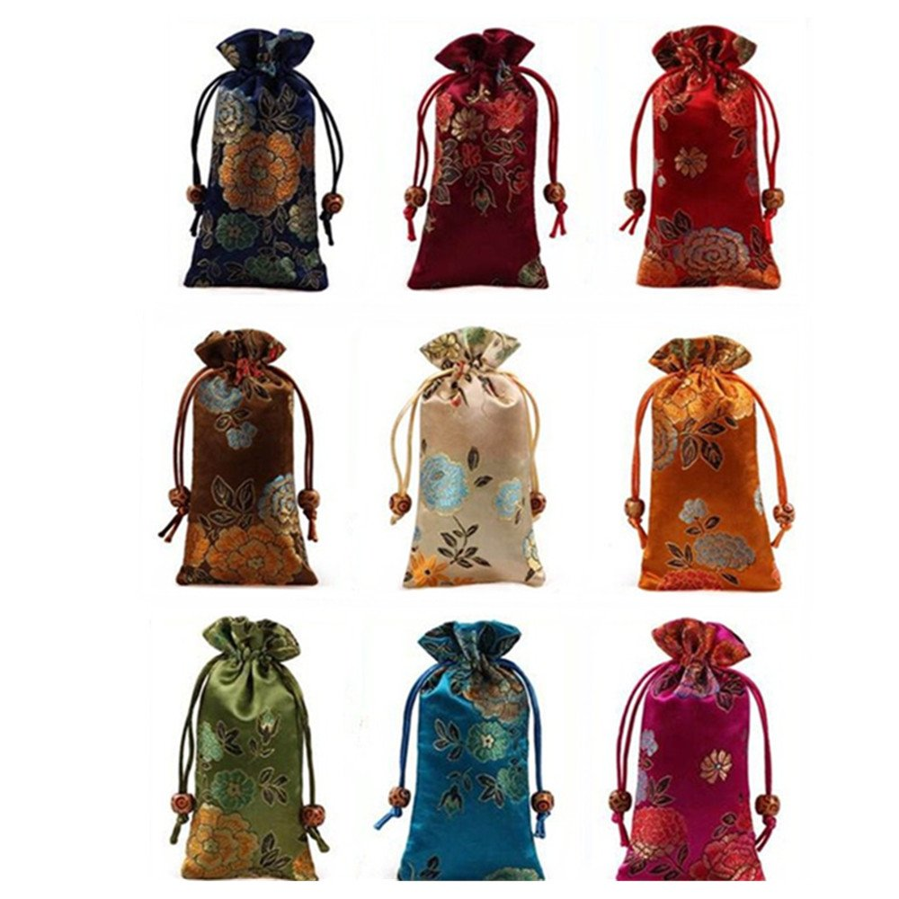 Lilith li 9Pcs/set Jewelry Pouch Double layer Drawstring Purse Gift Candy Bag