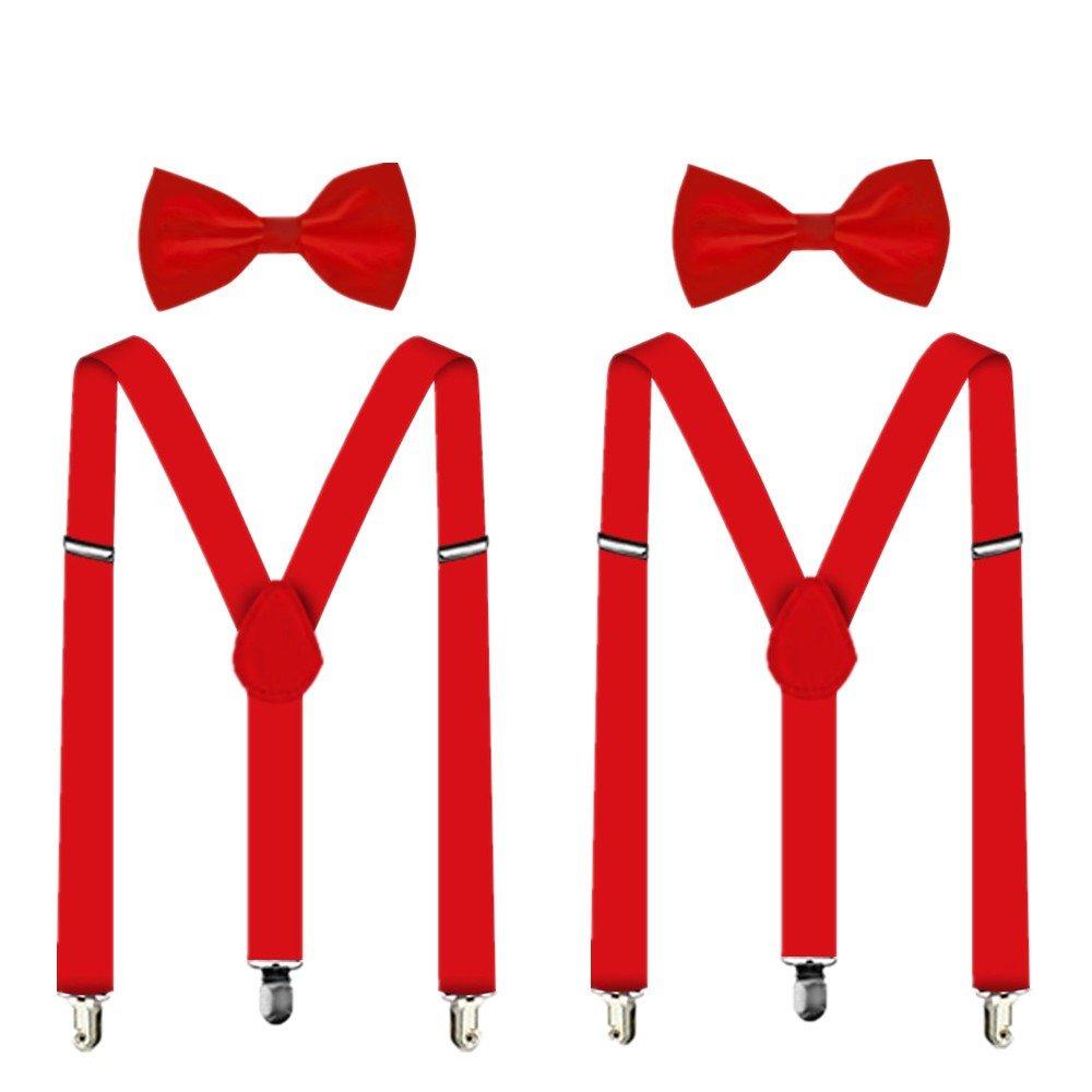 Suspenders For Men,Women Adjustable Suspends Bow Tie Set Solid Color Y Shape (2 RED)