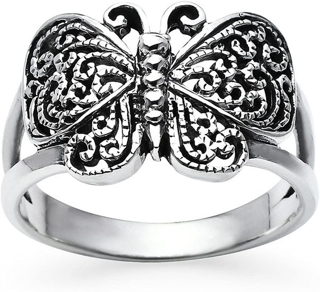 Silverline Jewelry 925 Sterling Silver Filigree Butterfly Ring Oxidized Finish Band | Sizes 5-12