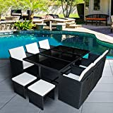 Britoniture Rattan Garden Furniture Set 10 Seater Dining Table and Padded Chairs Outdoor Patio and Conservatory