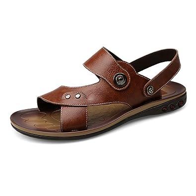 2018 Sandalen Herren Echtes Rindsleder Strand Hausschuhe Casual Rutschfeste Sohle Sandalen Schuhe (Color : Brown...