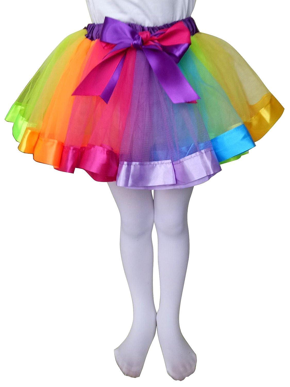 IUMN Girls Tutu Skirt Rainbow Dance Dress Ruffle Tiered Clubwear