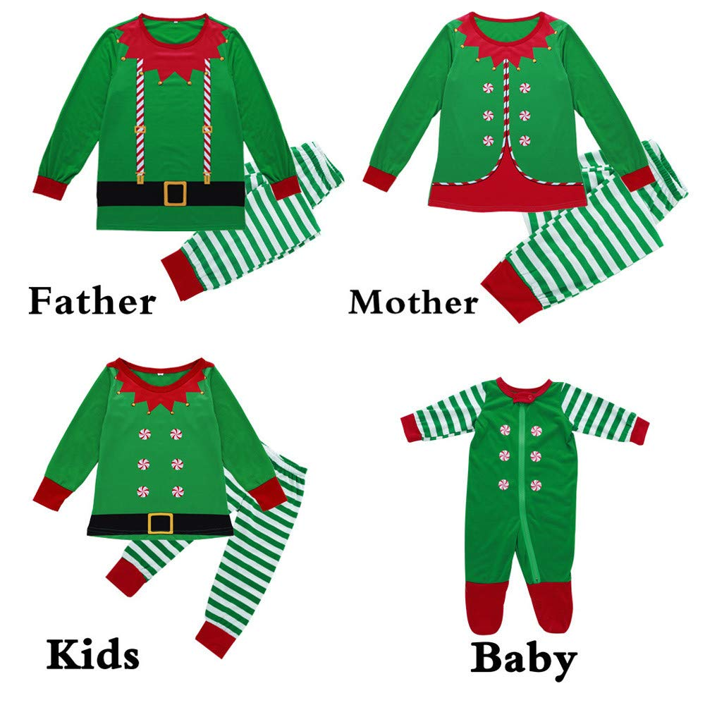 Men, S Kids Toddler Baby Boy Girl Infant Stripe Print Tracksuit Family Matching Clothes Outfits Merry Rompers Pants Tops XGao Family Christmas Pajamas Set Christmas Pajamas for Family