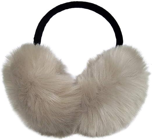 LETHMIK Women's Faux Fur Foldable Big Earmuffs Winter Outdoor Ear Warmers  Beige at Amazon Women's Clothing store