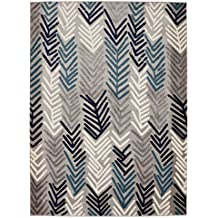 "DIAGONA DESIGNS Contemporary Floral Design Modern 5' by 7' Area Rug, Gray/Navy/Teal/Beige, 63"" W x 87"" L"