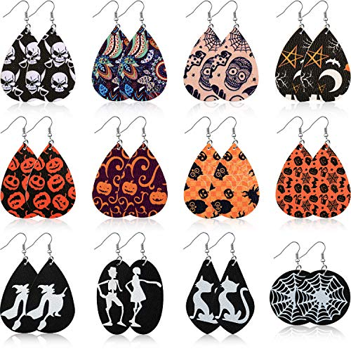 12 Pairs Halloween Earrings Teardrop Earrings Faux Leather Dangle Earrings for Halloween Costume Party Decoration Supplies