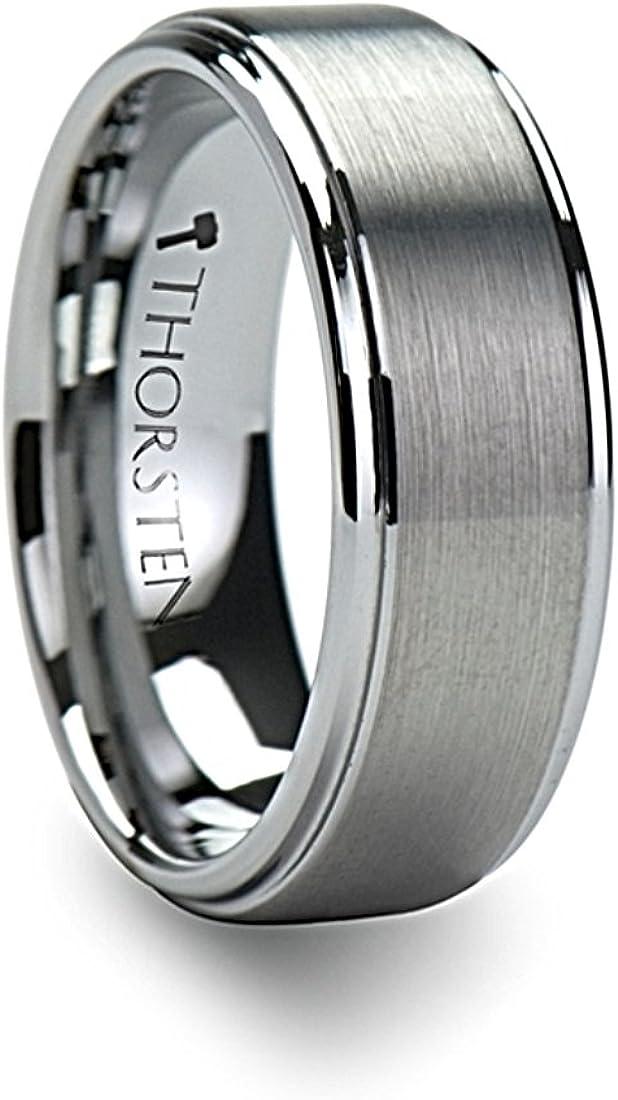 Thorsten Optimus Brush Finish Raised Center Polished Edge Tungsten Ring 8mm Wide Wedding Band from Roy Rose Jewelry