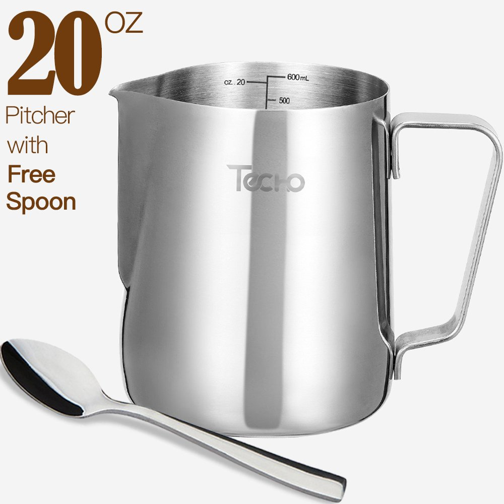 Techo Milk Pitcher, Stainless Steel Frothing Pitcher 20oz with Spoon, Milk Steaming Frother Cup for Coffee, Latte Art by Techo