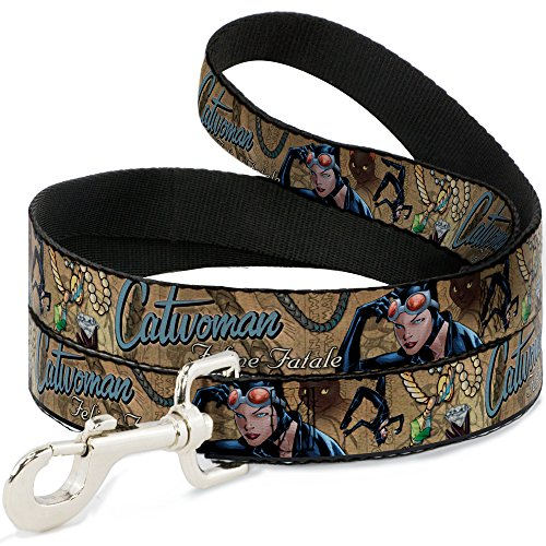 Buckle Down Dog Leash Catwoman Nine Lives of A Feline Fatale Pose2 Jewelry Cat Tans 6 Feet Long 0.5 Inch Wide (Catwoman Nine Lives Of A Feline Fatale)