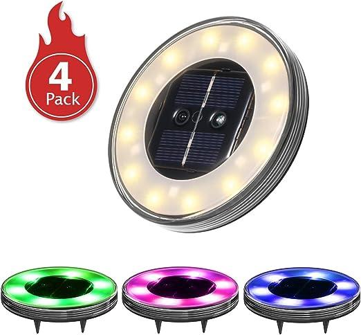 Luces Solares Led Exterior,Tomshine 4Pack 12+6 LEDs Luces Solares ...