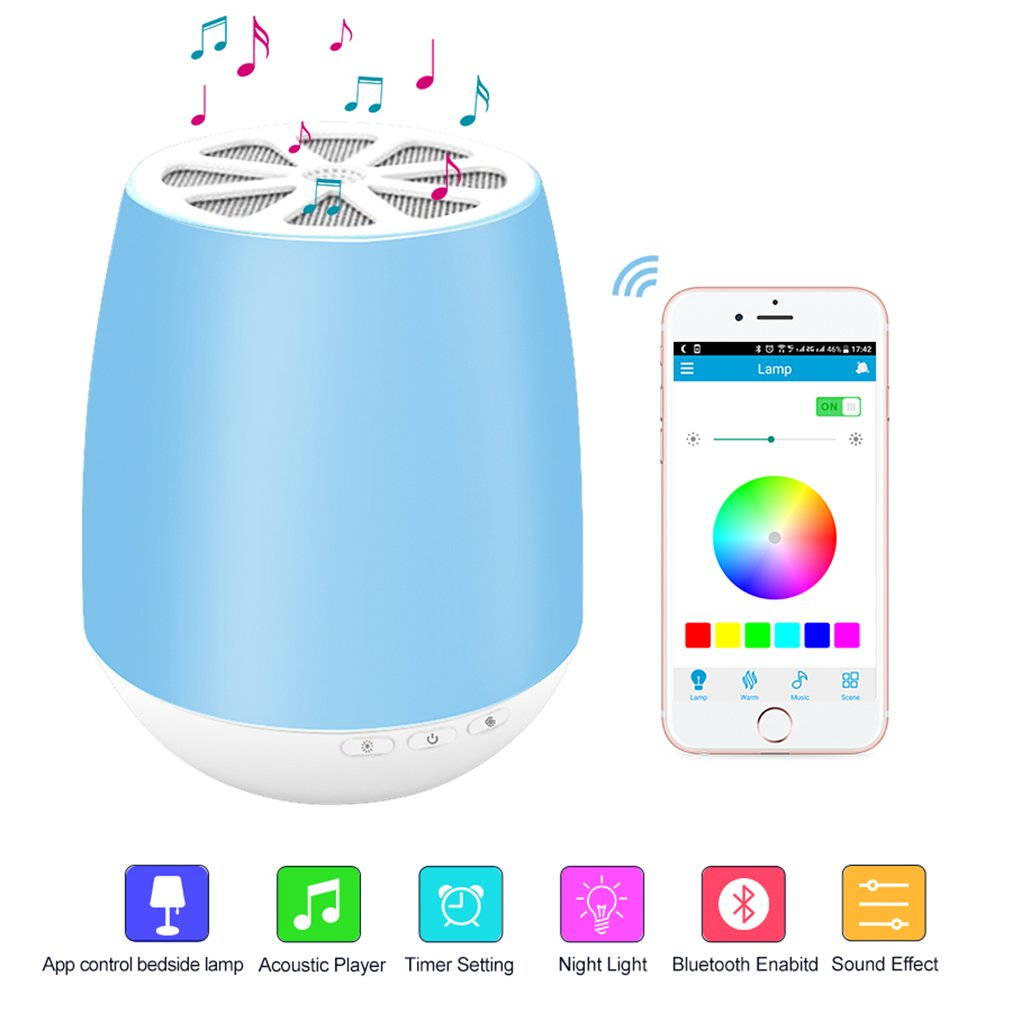 LED Bluetooth Speaker,8Sanlione Smart App Wireless Bluetooth Speaker,Dimmable Control Night Light,Smartphones Touch Control LED Lamp With Wireless Speakers for Children bedroom, Party, Outdoor Camping by 8Sanlione (Image #1)