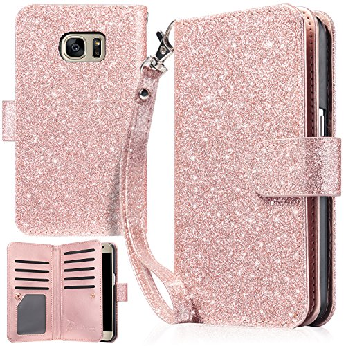 UrbanDrama Case for Galaxy S7, S7 Wallet Case Sparkly Glitter Hand Wristlet Magnetic Snap Closure Folio PU Leather Kickstand Magnetic Cash &Card Slot Protective Case for Samsung Galaxy S7, Rose Gold ()