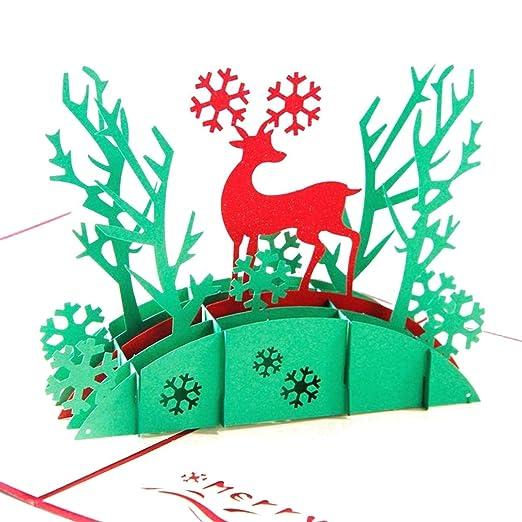 KOKO Zhu Tarjeta de Navidad del Coche del Reno 3D Tarjeta de ...