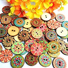 """Boho Wooden Buttons 100 Fancy Painted 3/4"""" Diameter Wood Buttons Assorted Styles and Colors Sewing Crafts Scrapbook Supplies,100x Mixed Vintage Colorful Flowers Wood Buttons Scrapb"""