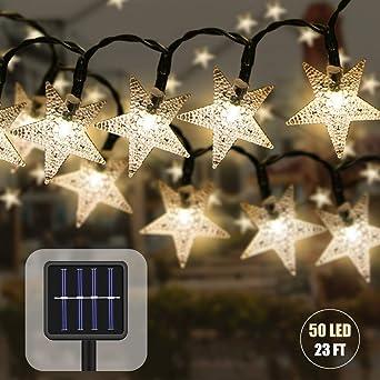 Guirnaldas Luces Exterior Solar,7 M 50 LED Impermeable Navidad Cadena de Luces,Estrellas Luces de Hadas Decoración para Jardin Fiesta Casa Bodas (amarillo): Amazon.es: Iluminación